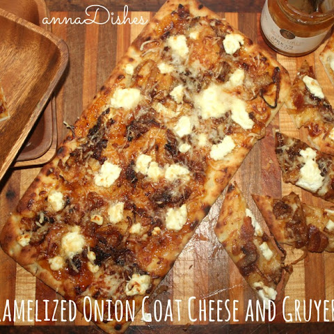 Apricot Caramelized Onion Goat Cheese and Gruyere Flatbread