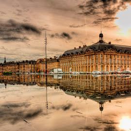 rainy day by Cédric Guere - Buildings & Architecture Other Exteriors ( mirror, water, bordeaux, france, town, rain, aquitaine, city )