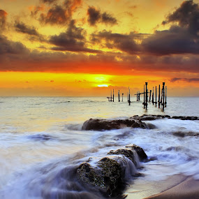 Sunset Motion by Dede GreenHolic - Landscapes Waterscapes ( water, waves, sunset, seascape, stones )