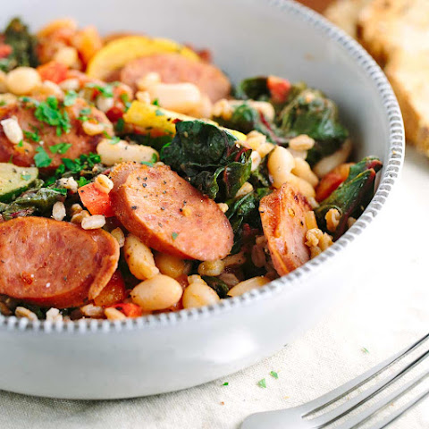 Rustic Italian White Bean Vegetable Stew with Sausage
