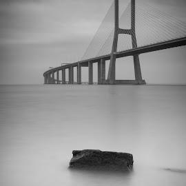 Vasco da Gama Bridge by José Borges - Buildings & Architecture Bridges & Suspended Structures ( cloud, tagus river, lisbon, bw, bridge )
