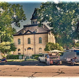 --------Saturday On The Square------- by Neal Hatcher - City,  Street & Park  Street Scenes