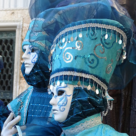 Couple in turquoise at the Venice Carnival by Patrizia Emiliani - People Couples ( turquoise, carnival, venice, couple, italy )