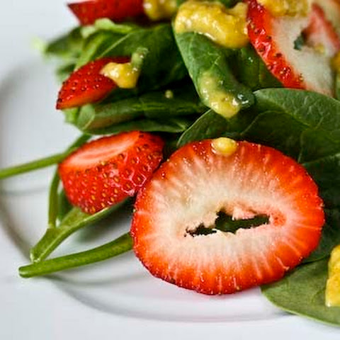 Spinach and Strawberry Salad with a Healthy, Spicy Curried Date Dressing