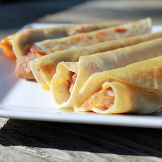 Oven-Baked Refried Bean and Cheese Vegetarian Taquitos