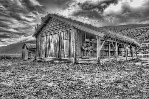 Old boathouse by Benny Høynes - Buildings & Architecture Decaying & Abandoned ( canon, hdr, black and white, vintage, norway,  )