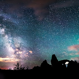 Mo-Glow Pano by Derrick Snider - Landscapes Starscapes ( moab, utah, stars, night, night sky, starscape, panorama, milky way, nightscape )
