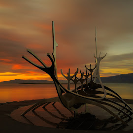 Sun Voyager in Reykavik by Bill Kuhn - Buildings & Architecture Statues & Monuments ( sun voyager, statue, sunset )