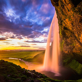 Seljalandfoss by Adrien Sutter - Landscapes Sunsets & Sunrises ( iceland, sky, waterscape, colors, sunset, waterfall )