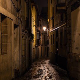 Dark Street of Toledo by Jim Hamel - City,  Street & Park  Night ( toledo, street, night, spain, city )