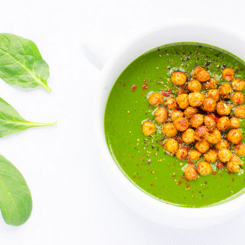 Spinach Soup with Spicy Roasted Chickpeas
