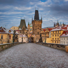 Charle's Bridge by Peter Podolinsky - City,  Street & Park  Historic Districts ( hdr, statues, czech republic, empty, castle, bridge, morning, prague, historic )
