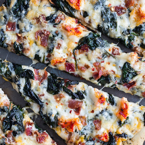 Brown Butter Lobster and Spinach Pizza with Bacon + Fontina.