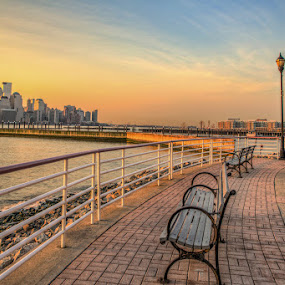 NYC and Jersey City Sunrise by Wenjie Qiao - City,  Street & Park  Skylines ( skyline, sunrise, nyc, jersey city )