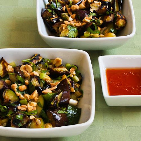 Spicy Grilled Eggplant and Zucchini Salad Recipe with Thai Flavors (Low-Carb, Gluten-Free, Meatless)