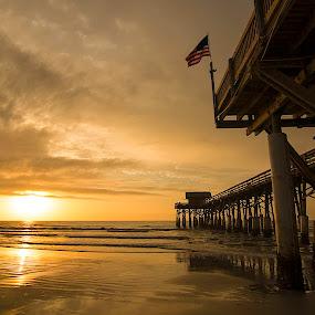 Pier Sunrise by John M. Larson - Buildings & Architecture Bridges & Suspended Structures ( atlantic ocean, color, florida, sea, ocean, sunrise, beach, morning,  )