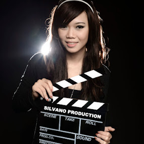 Friska with Clapperboard 1 by Silvano Baru - People Portraits of Women