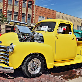 car show 2016 by Rita Flohr - City,  Street & Park  Street Scenes ( pickup, vintage, yellow, classic )