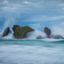 Rough Seas by Andre Bay - Abstract Water Drops & Splashes ( water, sea, rock, seascape, beach, slow shutter, early morning )