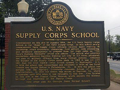 commissioned on this site 15 january 1954 the us navy supply corps school is the quothome of the navy supply corps at this school newly commissioned