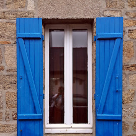 Window by Dobrin Anca - Buildings & Architecture Architectural Detail ( window, blue, street, glass, brittany )