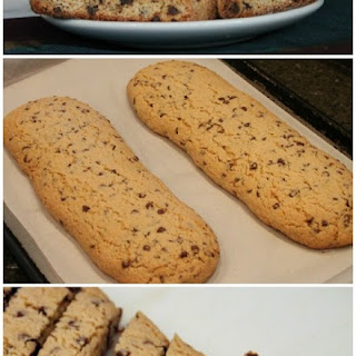 Chocolate Chip Cookie Biscotti with White Chocolate Dipping Sauce