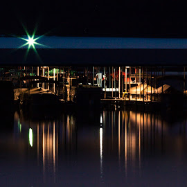 Marina at Night by Jennifer  Loper  - City,  Street & Park  Night ( marina, still water, arkansas, night, boats, state park, lake, lake ouachita, lights )