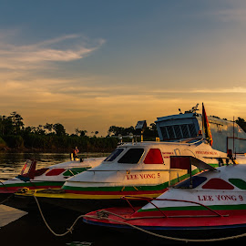 Passenger Speedboats  by Ted Khiong Liew - Transportation Boats ( #speedboat #river #boat #water )