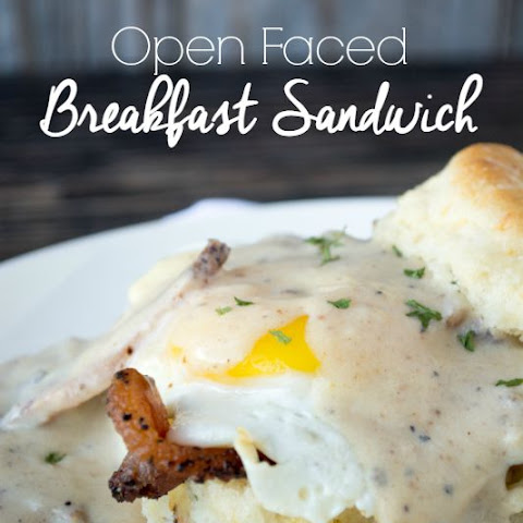 Open Face Breakfast Sandwiches with Bacon Country Gravy