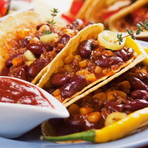Vegetarian Refried Bean and Salsa Tacos