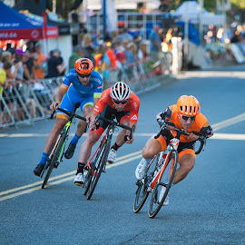Leaders Of The Pack by Garry Dosa - Sports & Fitness Cycling ( racing, outdoors, race, tour de white rock, men, roadrace, action, competitive, cycling, bicycles, people, sport )