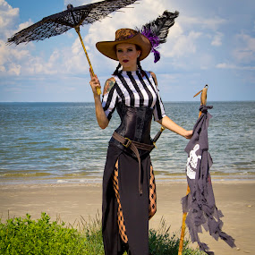 Texas City Pirate #2 by Barry Blaisdell - People Portraits of Women ( skirt, cosplay, female, outdoors, costume, beach, boots, pirate,  )