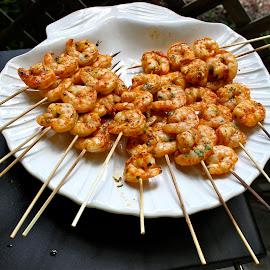 Spicy shrimp. by Peter DiMarco - Food & Drink Plated Food ( foods, shrimp, food, appetizer, grilled )