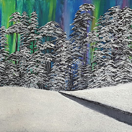 The Northern Chill by Paula Moore - Painting All Painting ( winter, tree, textured, northern lights, acrylic, trees, landscape, painting, woods )