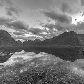 by Benny Høynes - Black & White Landscapes ( mountains, black and white, waterscape, sea, landscape, norway )