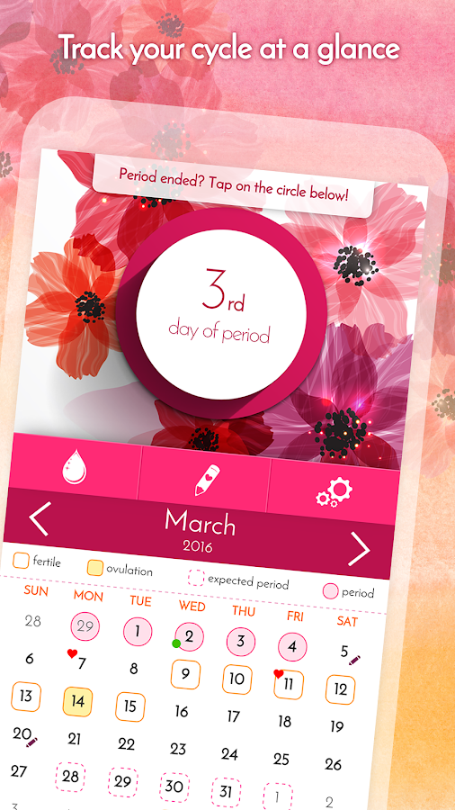 Period Calendar, Cycle Tracker Screenshot