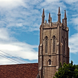 Steepled Surprise by Catherine Melvin - Buildings & Architecture Places of Worship ( roof, blue sky, church, expressive, anthropomorphic face )