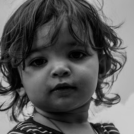 The Look by Iva Marinić - Babies & Children Child Portraits ( nikon d, toddler, black and white, portrait, boy, eyes, look, photography, child )