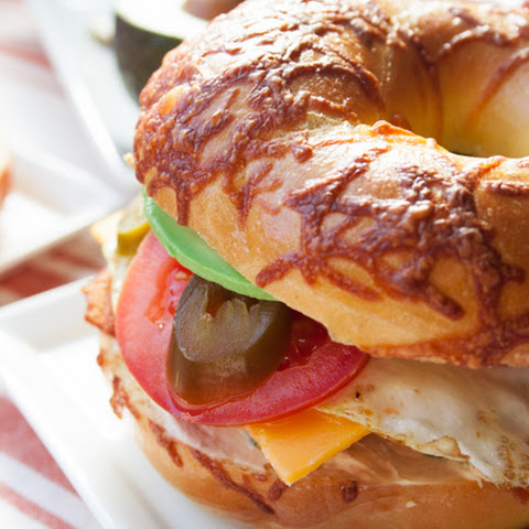 Supreme Breakfast Bagel Sandwich with Spicy Cream Cheese