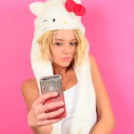 iPhone selfie by Brian Sadowski - Instagram & Mobile iPhone ( selfie, blonde, instagram, pretty girl, cute girl, pink, hello kitty )