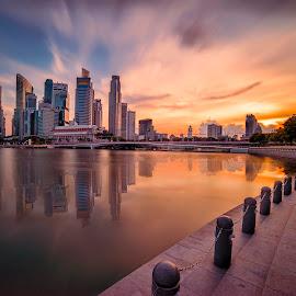 by Gordon Koh - City,  Street & Park  Skylines ( shenton way, skyline, skyscraper, sunset, riverfront, travel. esplanade, asia, long exposure, cityscape, singapore, singapore river, city )