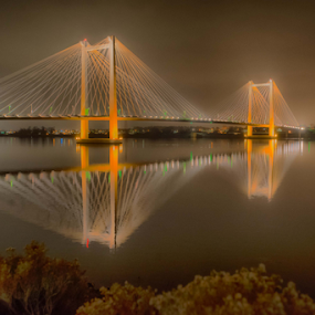 Cable Bridge at night by Kathy Dee - Buildings & Architecture Bridges & Suspended Structures ( water, structure, columbia, cable, tri-city, suspension, pacific, kennewick, northwest, architecture, washington, bridge, river, , city at night, street at night, park at night, nightlife, night life, nighttime in the city )