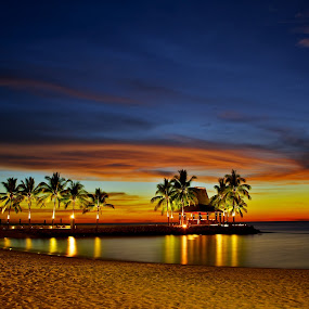 Paradise by Kenny Lee - Landscapes Travel ( sand, coconut trees, sunset bar, sea, beach, tanjung aru beach hotel, kk, sabah )
