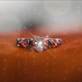 Diamond Heart ring  by Monica Upson - Digital Art Things ( ring, heart, window, diamond, rain )