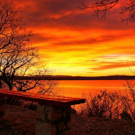 Sunset by Dalibor Jud - Landscapes Sunsets & Sunrises ( adriatic, benches, crikvenica, suton, sunset, zalazak, croatia, sunce, sea, hrvatska )