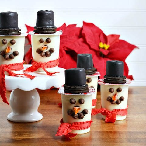 Super Snack Pack Vanilla Pudding Cups Snowmen for Christmas