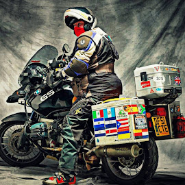 Selfie by Stephen Baker - Transportation Motorcycles ( studio, selfie, rider, motorbike, bmw )