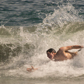 Body Surfer, 15th Street, Newport Beach, CA by Jose Matutina - Sports & Fitness Swimming ( sand, bodyboarder, orange county, surfer, california, bodysurfer, 15th street, newport beach, beach, sun )