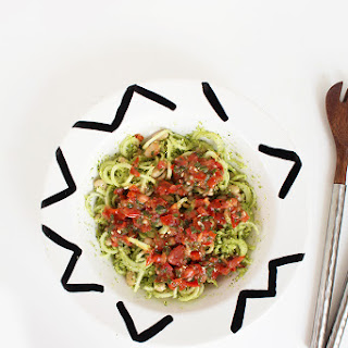 Tomato Basil Broccoli Noodle and White Bean Salad