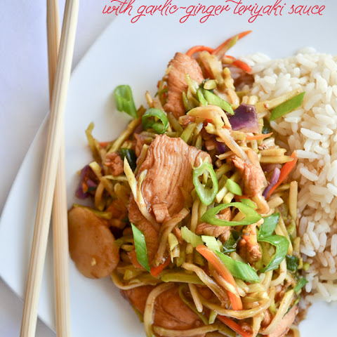 Broccoli Slaw Stir Fry with Garlic-Ginger Teriyaki Sauce